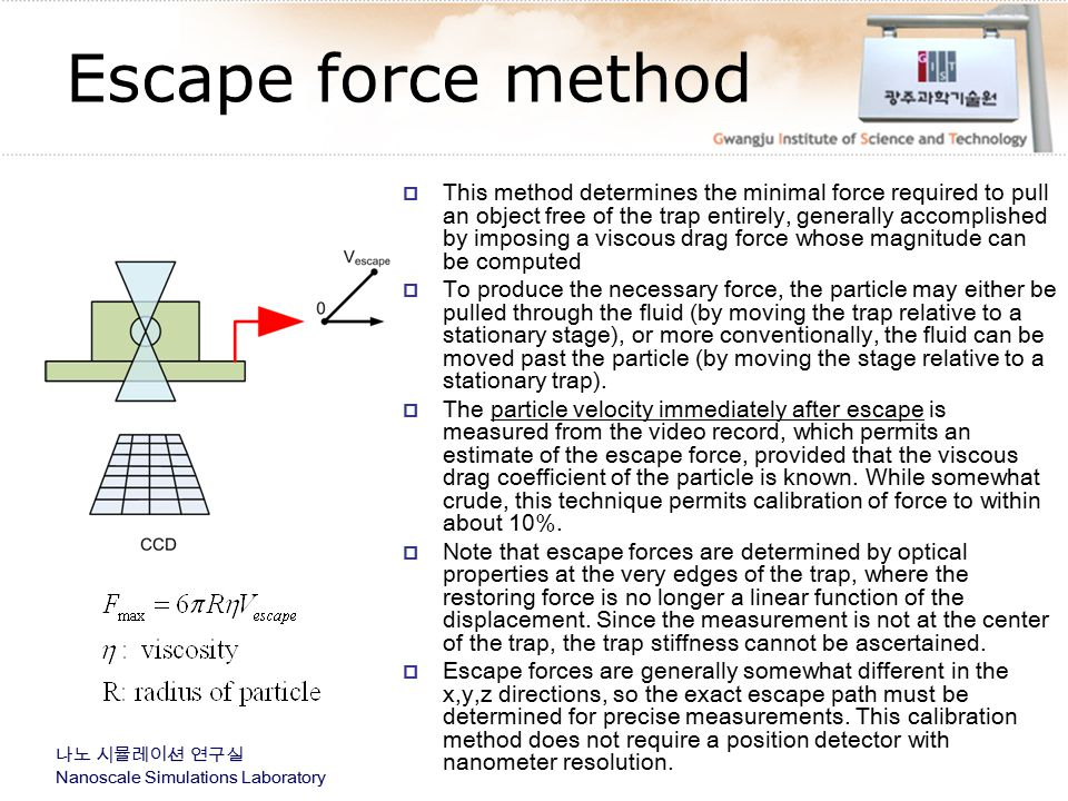 Escape force method