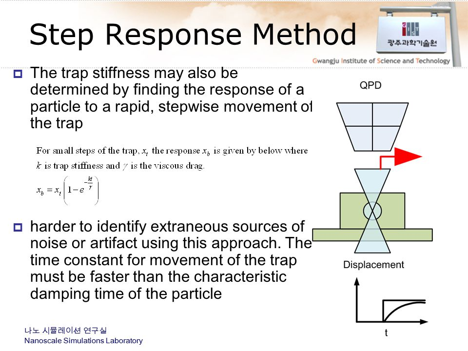 Step Response Method The trap stiffness may also be determined by finding the response of a particle to a rapid, stepwise movement of the trap.