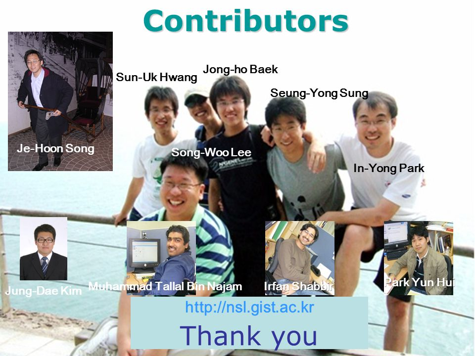 Contributors Thank you http://nsl.gist.ac.kr Jong-ho Baek Sun-Uk Hwang
