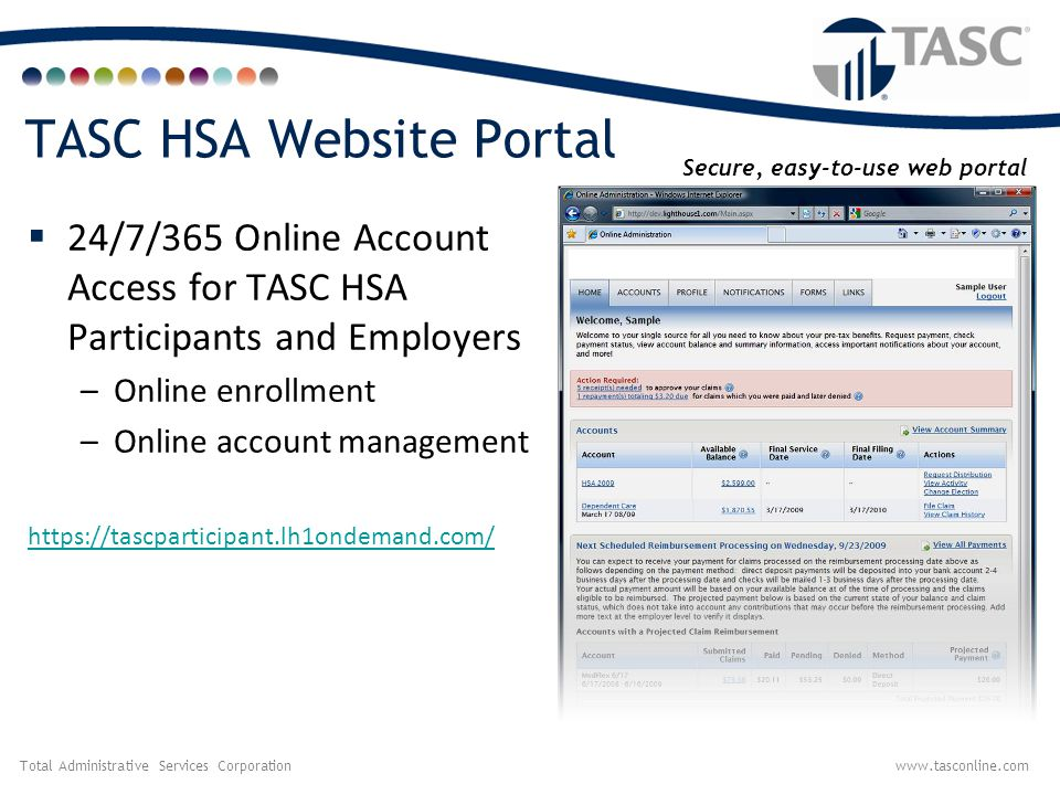 TASC HSA Website Portal