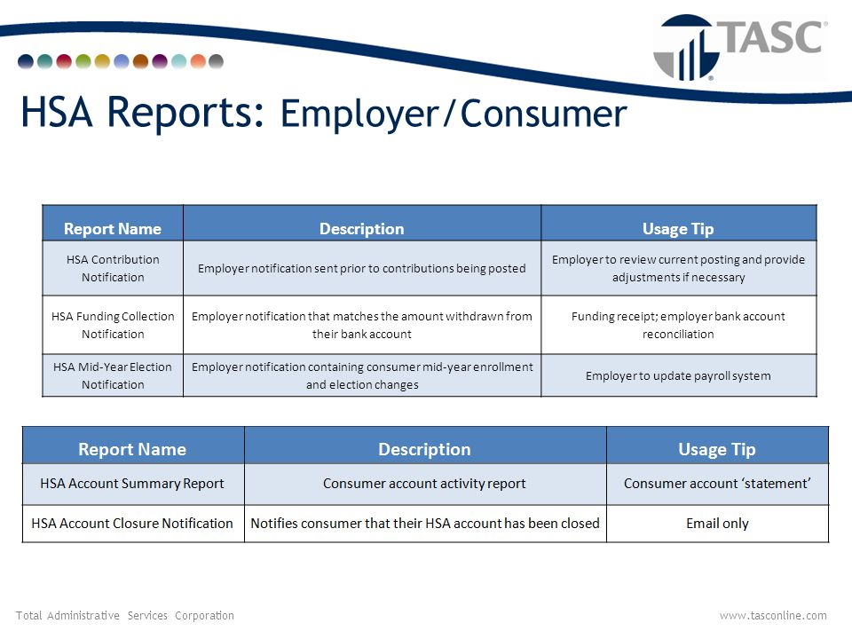 HSA Reports: Employer/Consumer