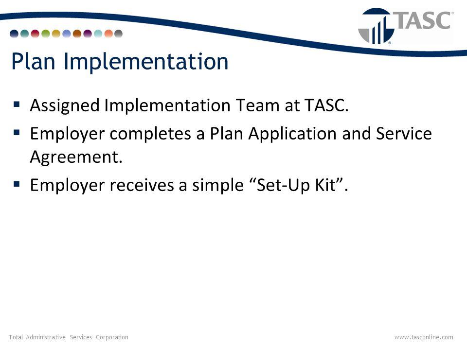 Plan Implementation Assigned Implementation Team at TASC.