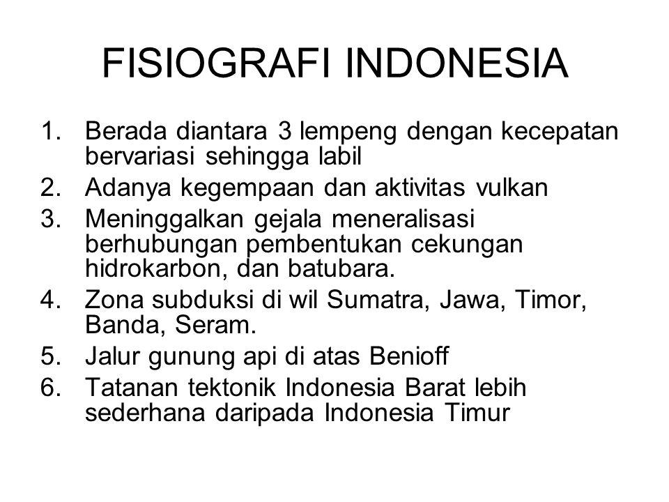 FISIOGRAFI INDONESIA Berada diantara 3 lempeng dengan kecepatan bervariasi sehingga labil. Adanya kegempaan dan aktivitas vulkan.