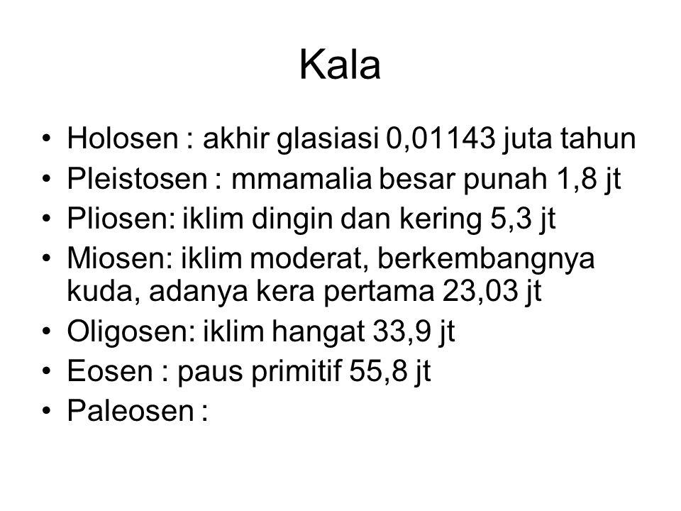 Kala Holosen : akhir glasiasi 0,01143 juta tahun