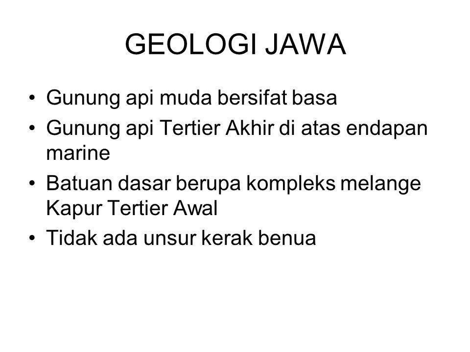 GEOLOGI JAWA Gunung api muda bersifat basa