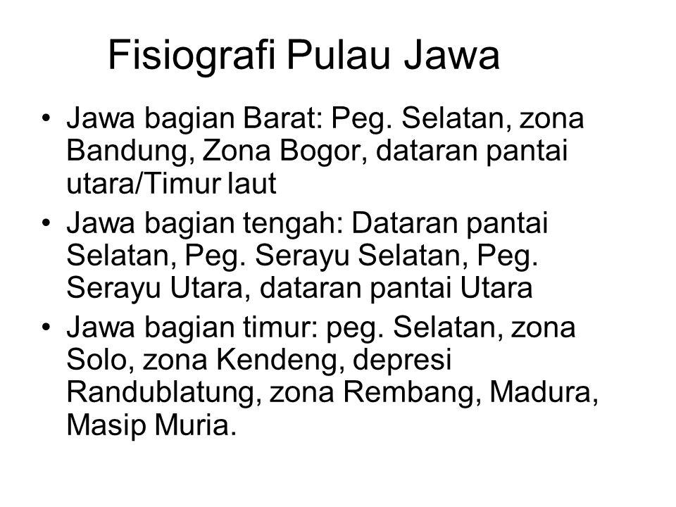 Fisiografi Pulau Jawa Jawa bagian Barat: Peg. Selatan, zona Bandung, Zona Bogor, dataran pantai utara/Timur laut.