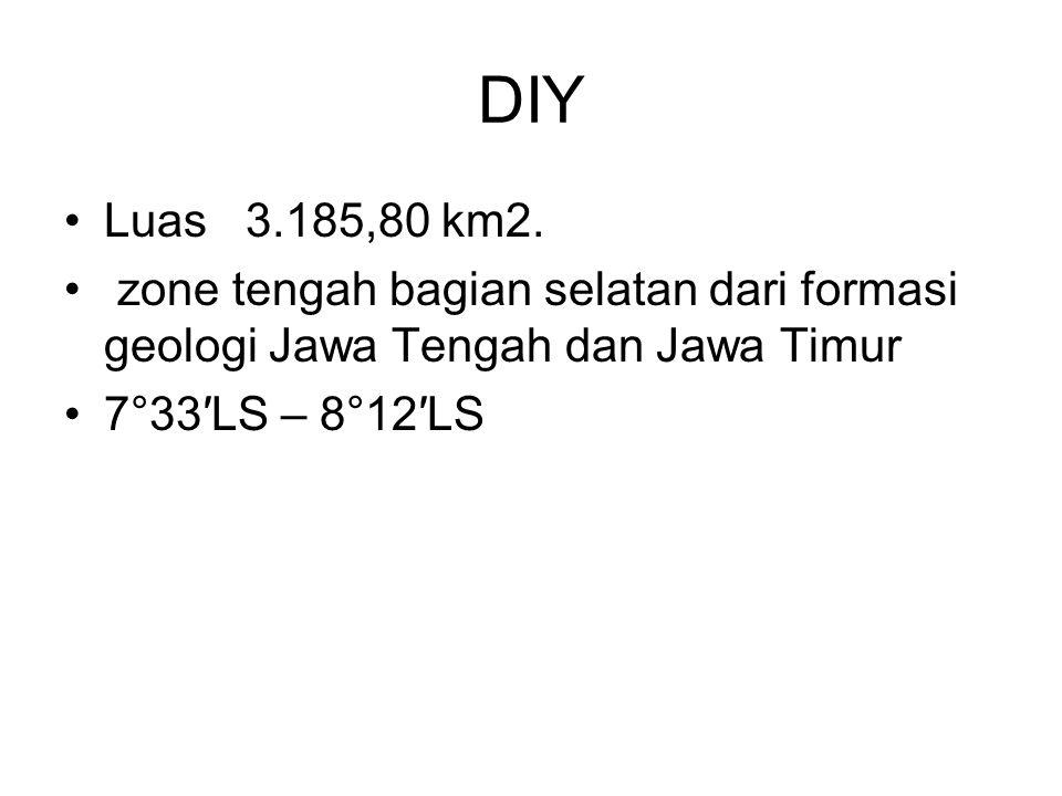 DIY Luas 3.185,80 km2. zone tengah bagian selatan dari formasi geologi Jawa Tengah dan Jawa Timur.