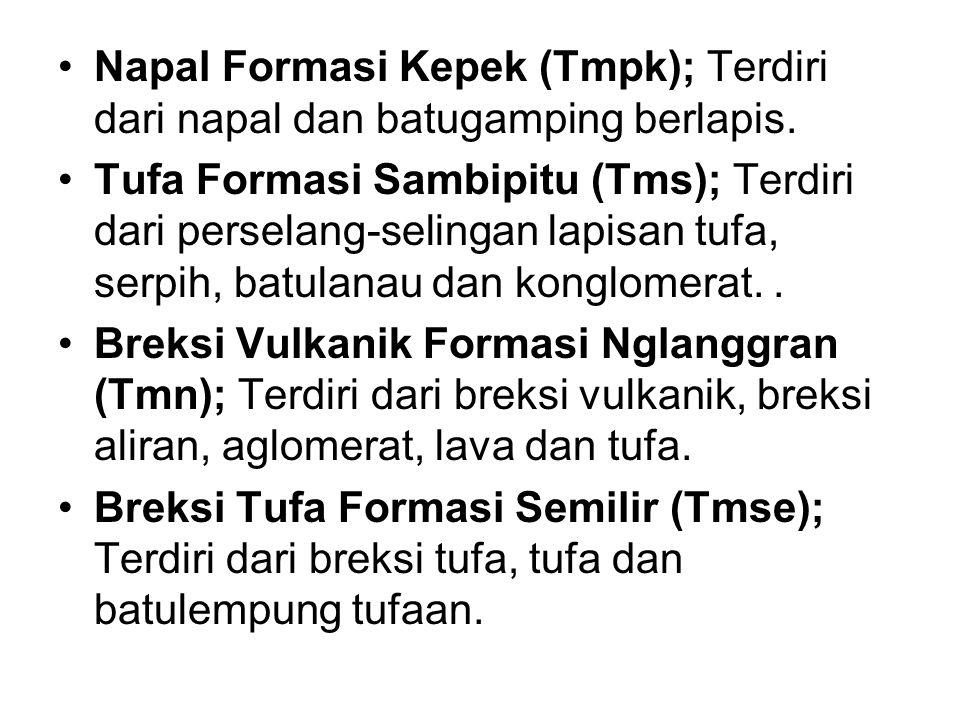 Napal Formasi Kepek (Tmpk); Terdiri dari napal dan batugamping berlapis.