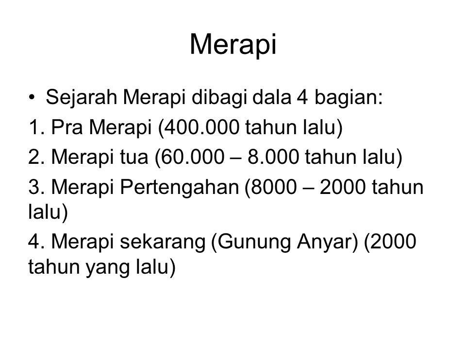 Merapi Sejarah Merapi dibagi dala 4 bagian: