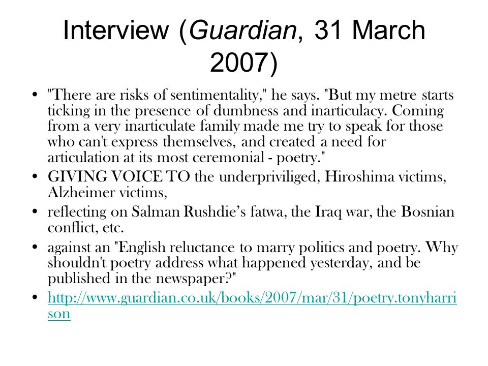Interview (Guardian, 31 March 2007)
