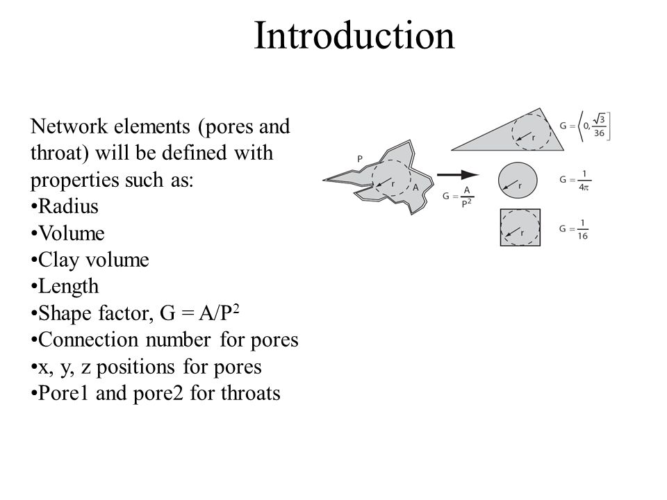 Introduction Network elements (pores and throat) will be defined with