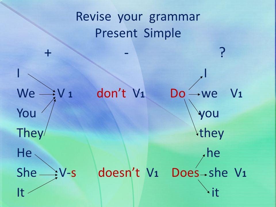 Revise your grammar Present Simple