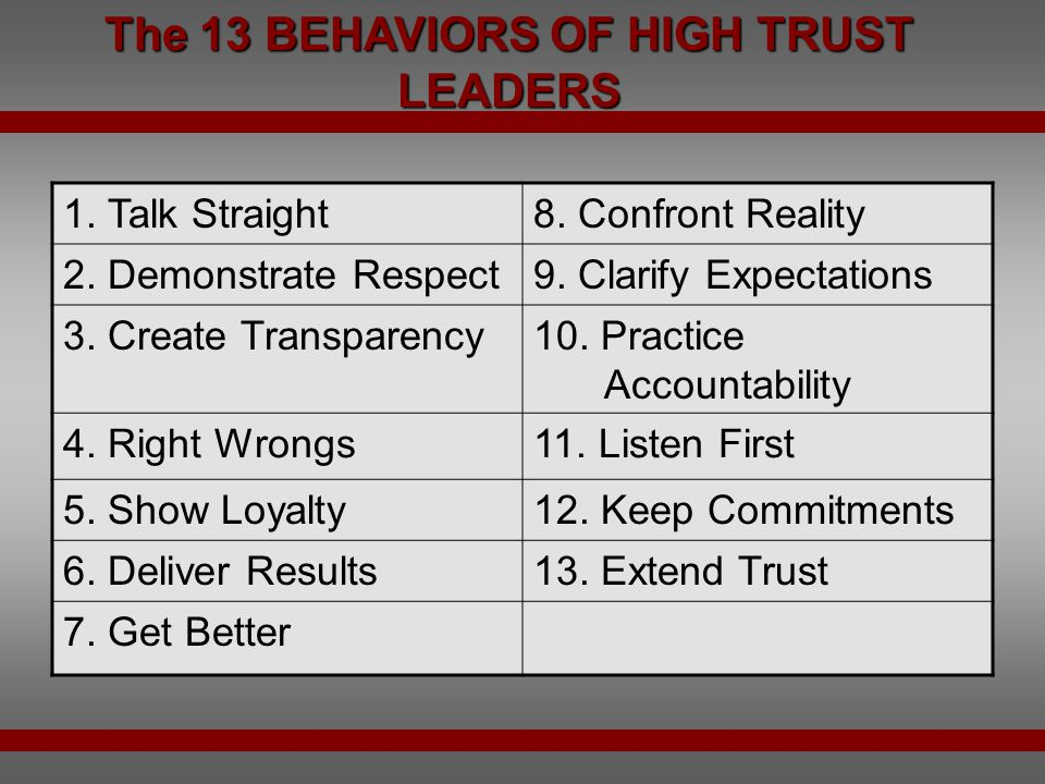 The 13 BEHAVIORS OF HIGH TRUST LEADERS