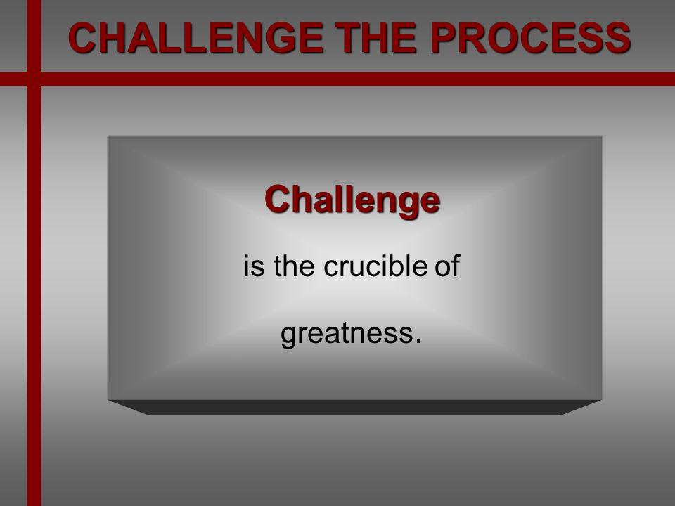 Challenge is the crucible of greatness.