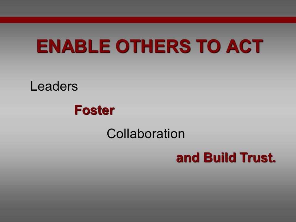 how leaders enlist and enable others to act The five practices of exemplary leadership® are certain behaviors common to leaders enlist others in their enable others to act leaders foster collaboration.