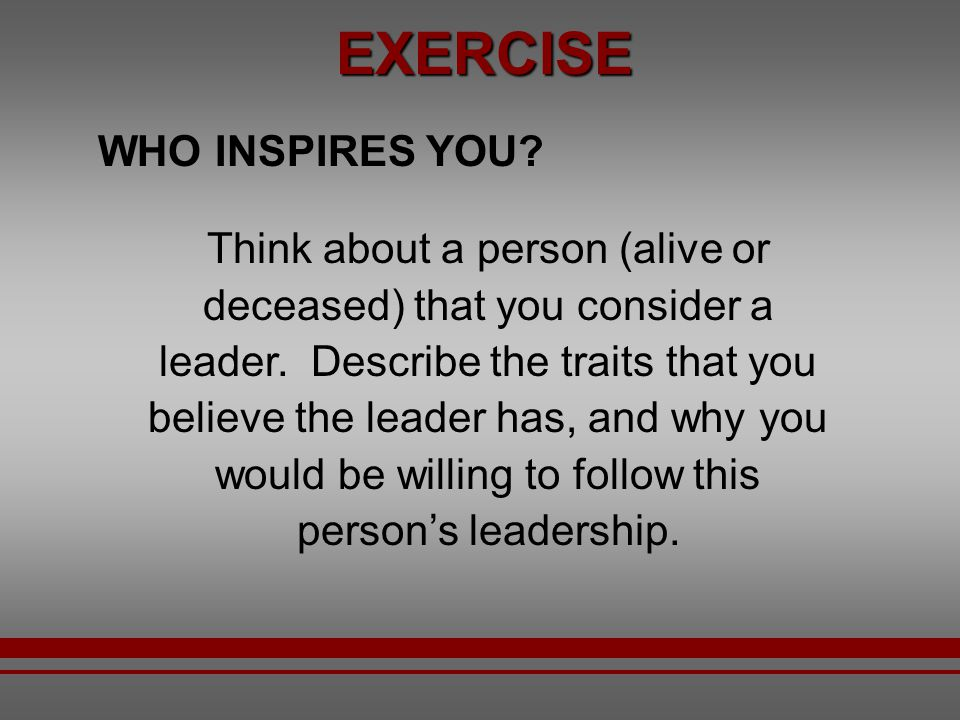 EXERCISE WHO INSPIRES YOU