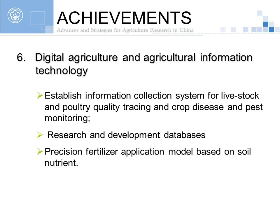 ACHIEVEMENTS 6. Digital agriculture and agricultural information technology.