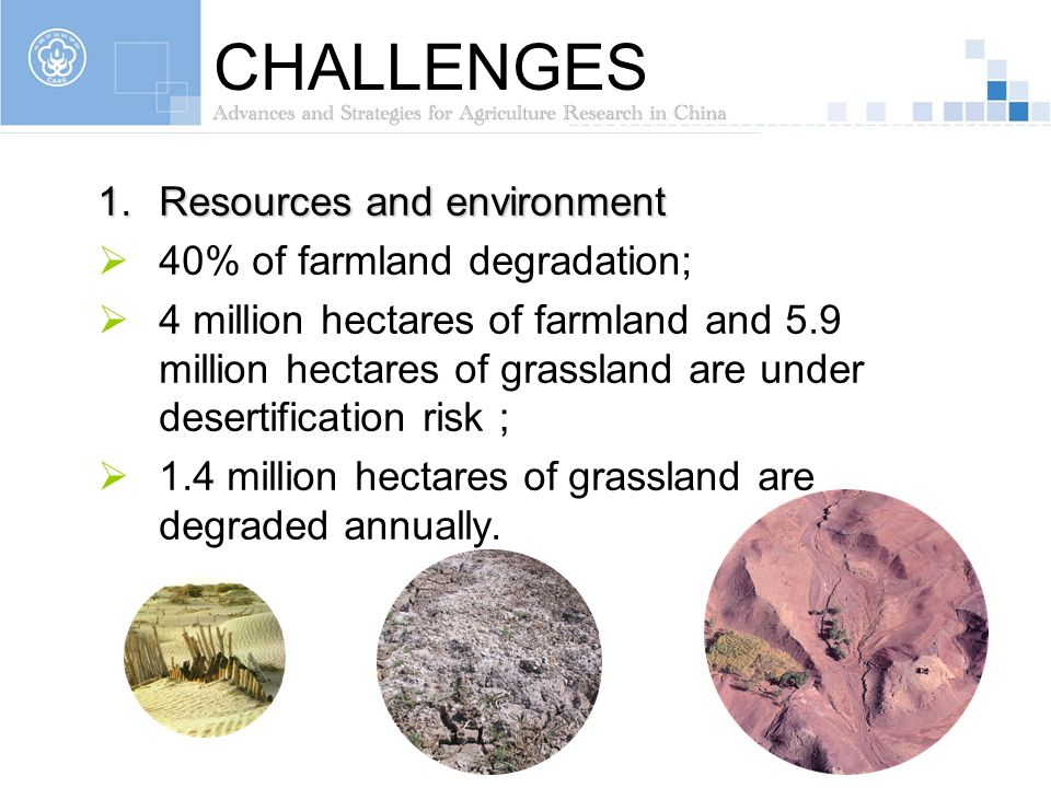 CHALLENGES Resources and environment 40% of farmland degradation;