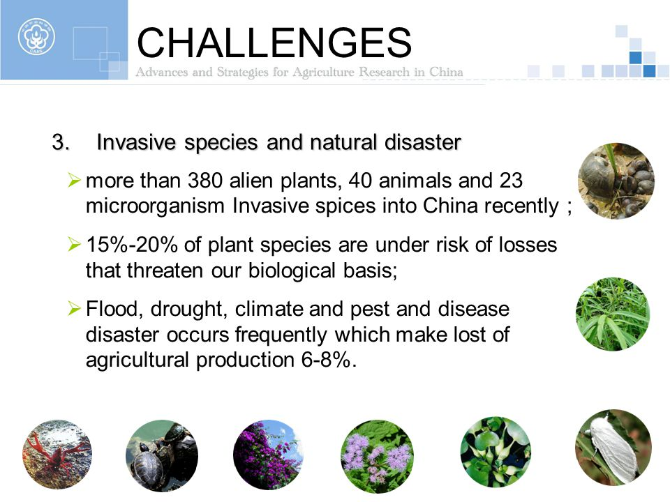 CHALLENGES Invasive species and natural disaster