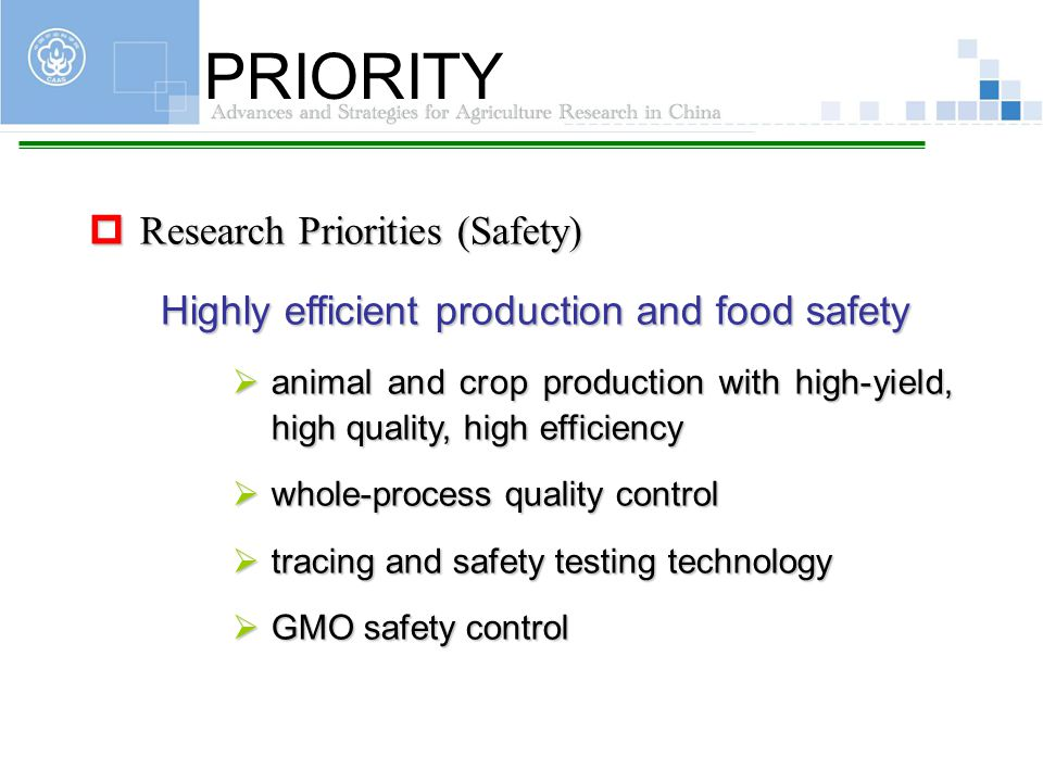PRIORITY Research Priorities (Safety)