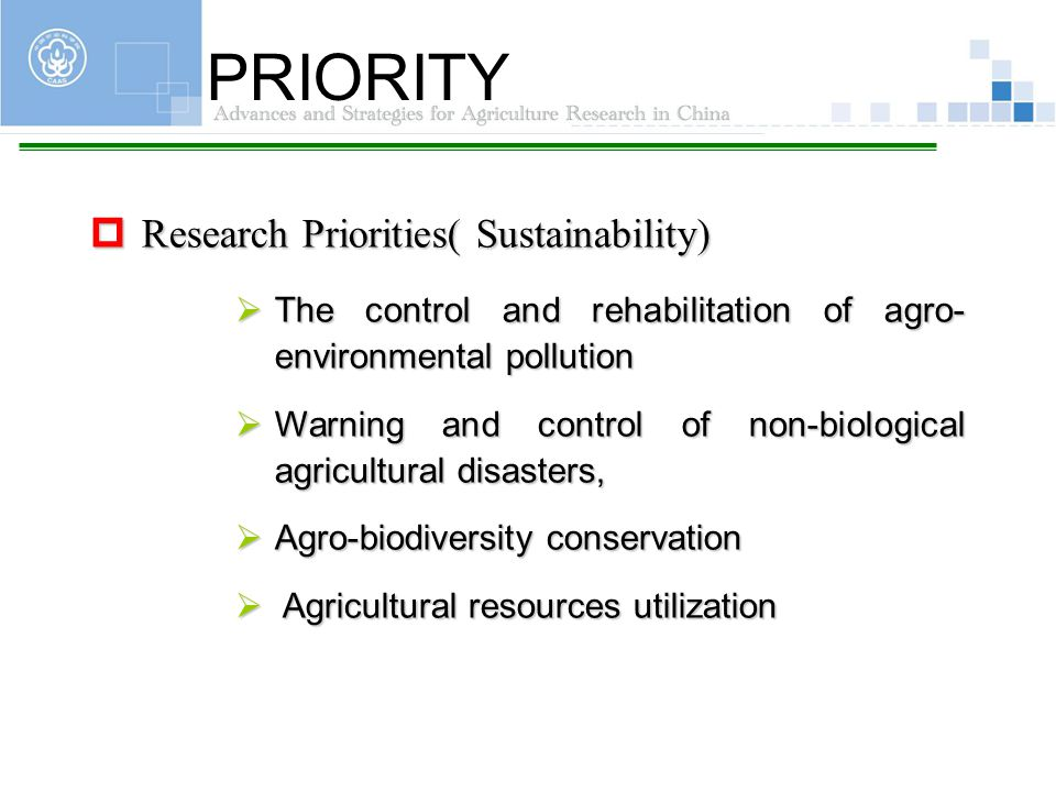 PRIORITY Research Priorities( Sustainability)