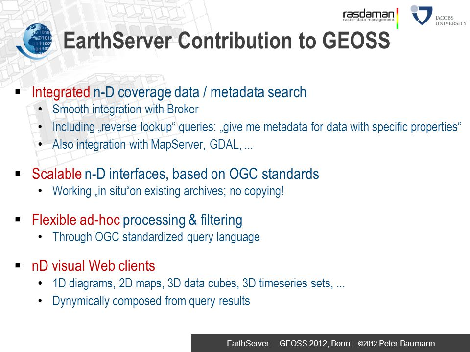 EarthServer Contribution to GEOSS