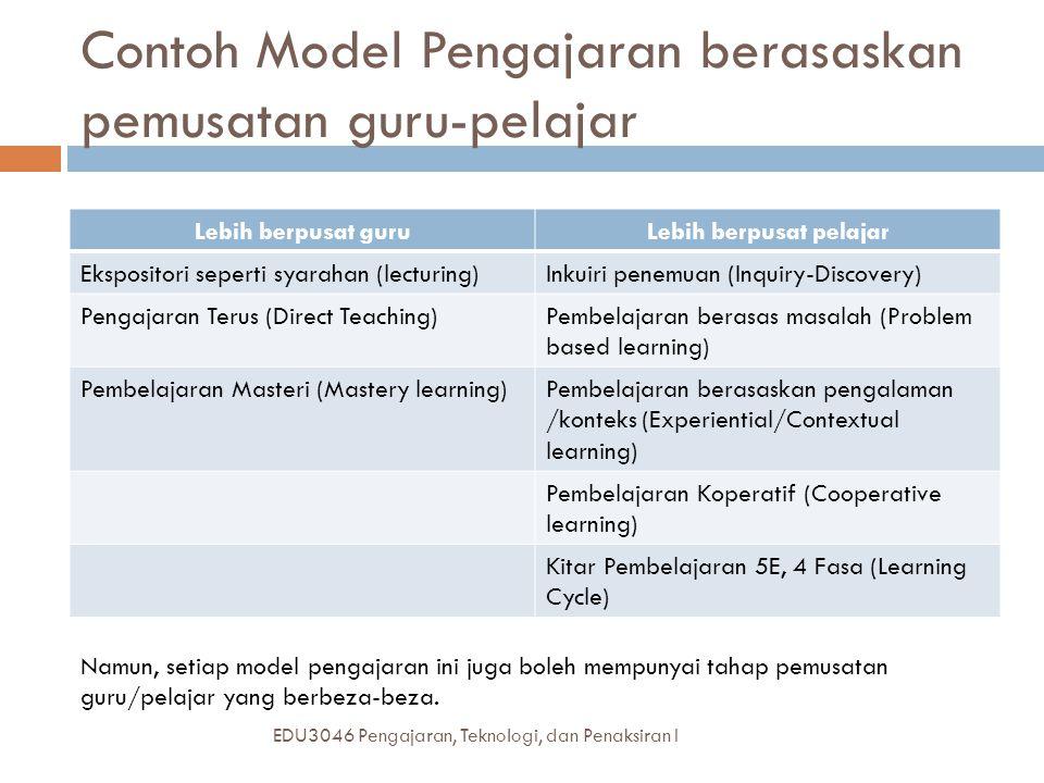 Contoh Model Pengajaran berasaskan pemusatan guru-pelajar