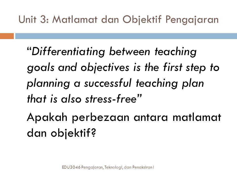 Unit 3: Matlamat dan Objektif Pengajaran