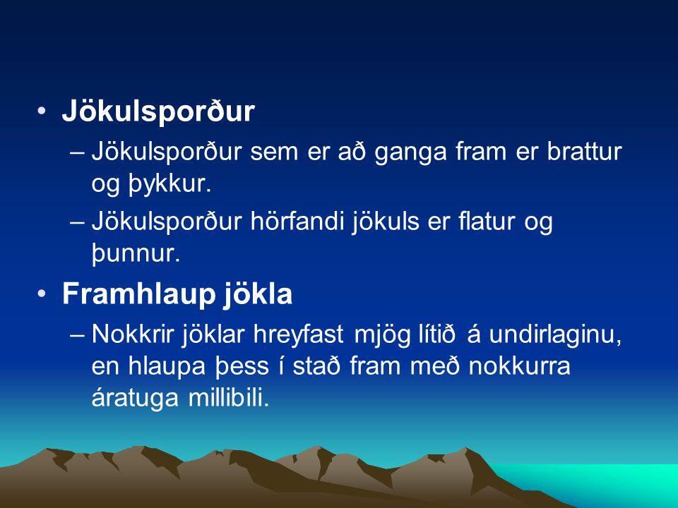 Jökulsporður Framhlaup jökla