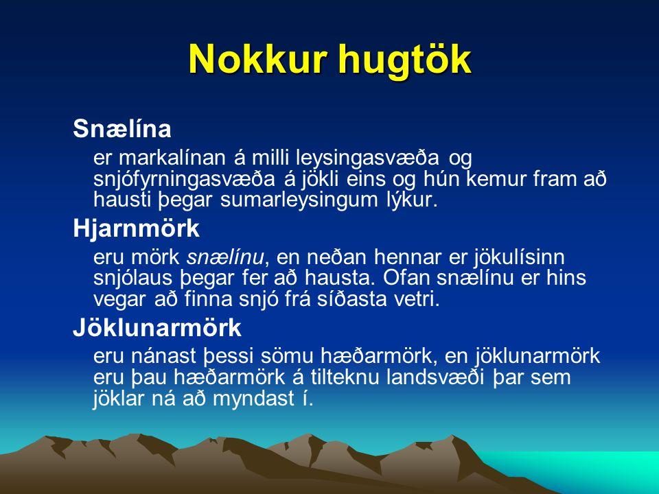 Nokkur hugtök Snælína Hjarnmörk Jöklunarmörk