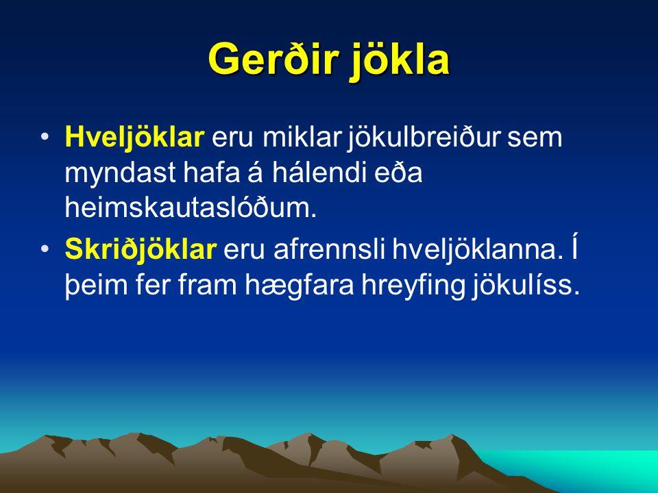 Gerðir jökla Hveljöklar eru miklar jökulbreiður sem myndast hafa á hálendi eða heimskautaslóðum.