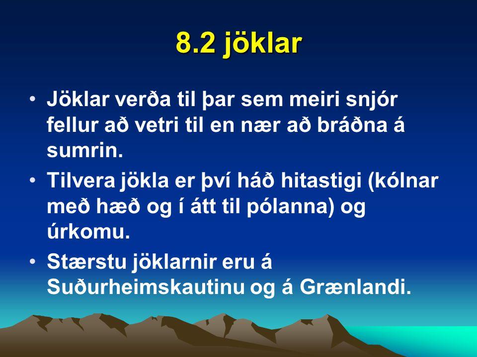 8.2 jöklar Jöklar verða til þar sem meiri snjór fellur að vetri til en nær að bráðna á sumrin.