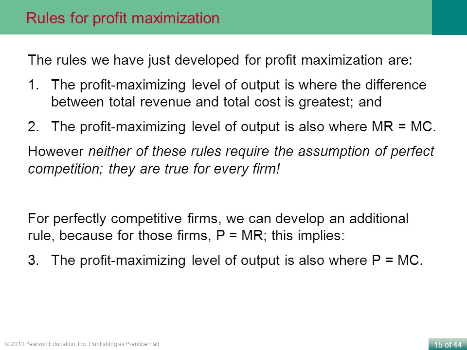 Rules for profit maximization