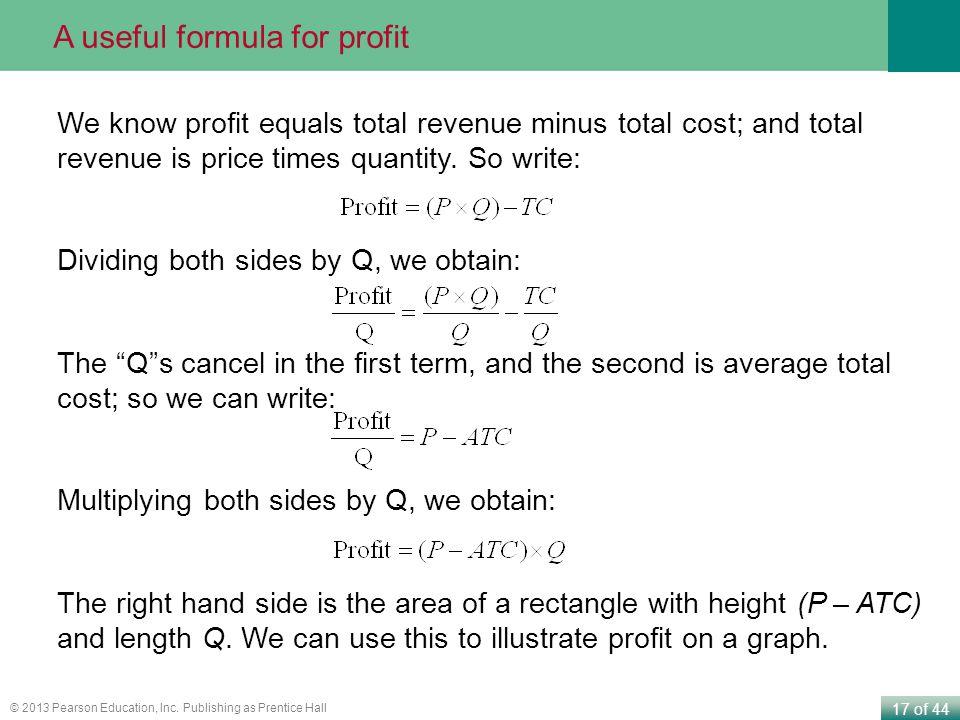 A useful formula for profit