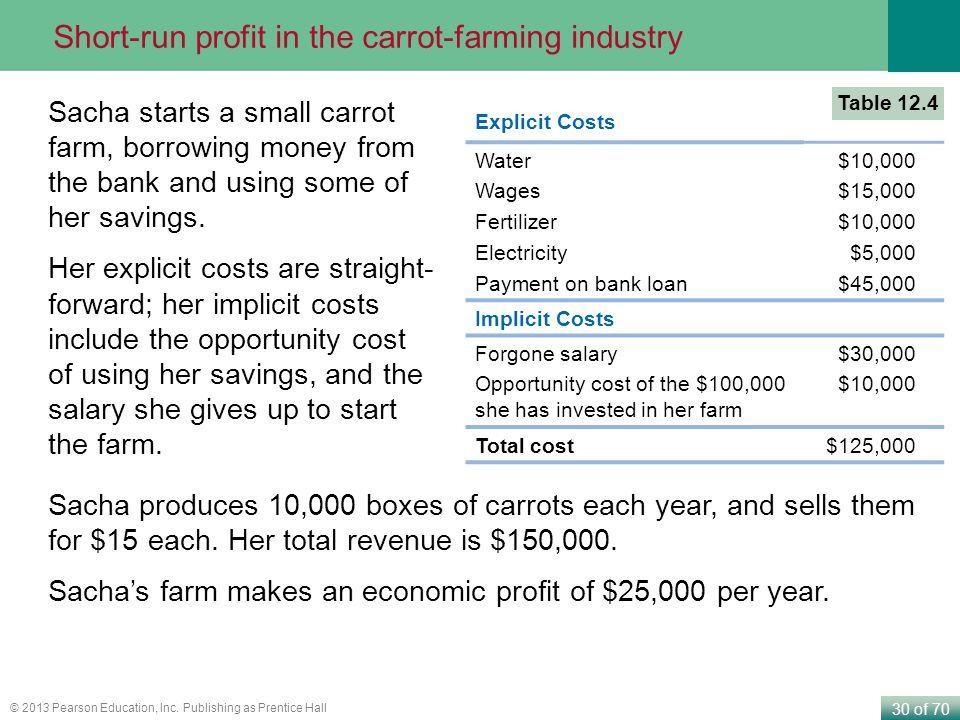 Short-run profit in the carrot-farming industry