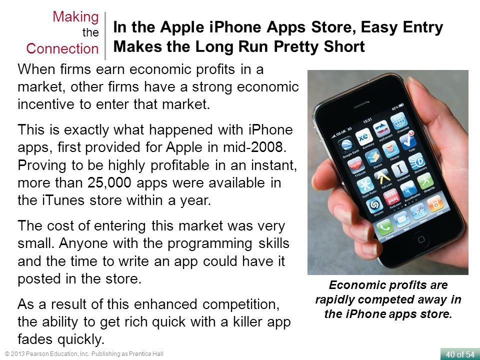 Economic profits are rapidly competed away in the iPhone apps store.