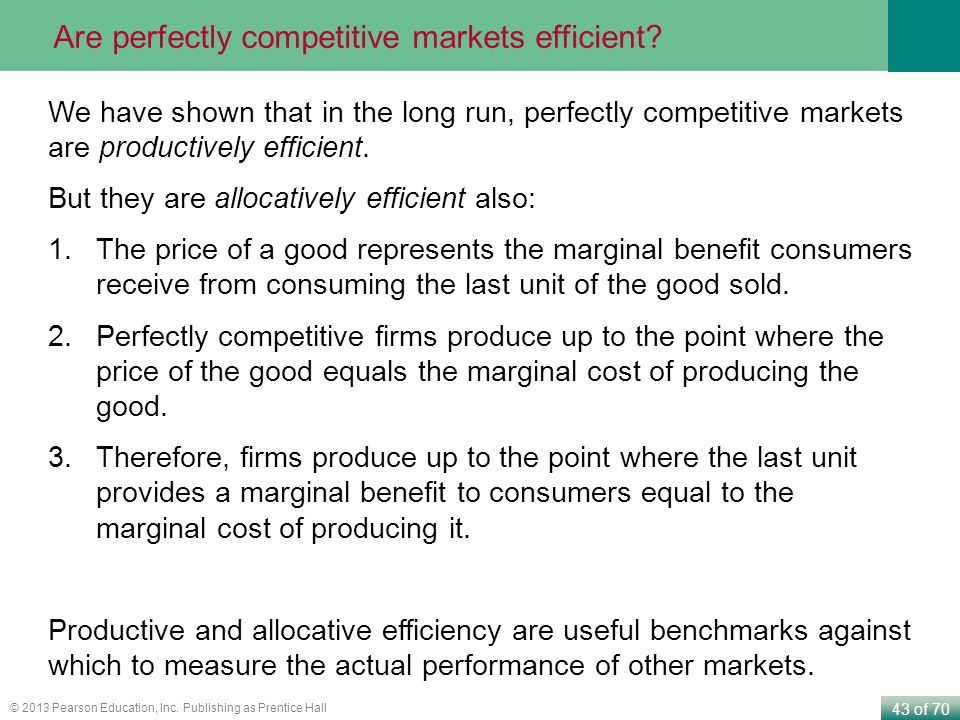 Are perfectly competitive markets efficient
