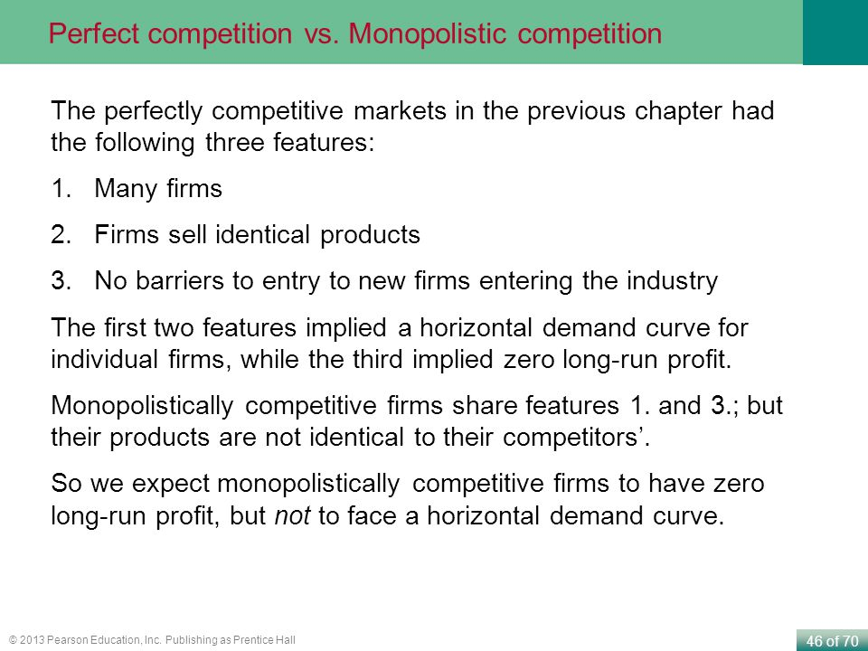 Perfect competition vs. Monopolistic competition