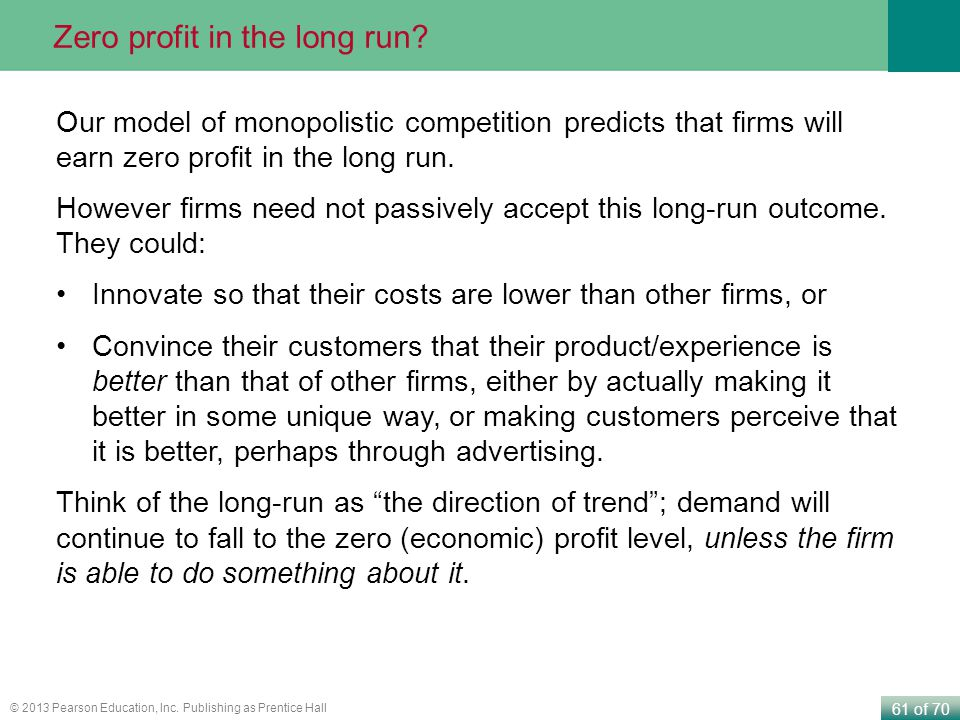Zero profit in the long run