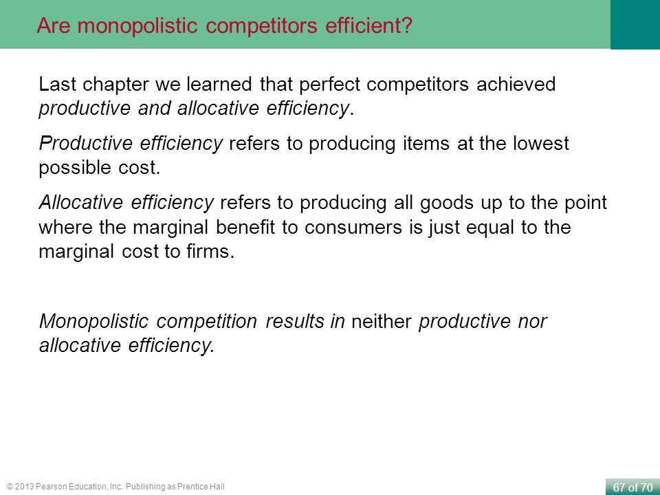 Are monopolistic competitors efficient