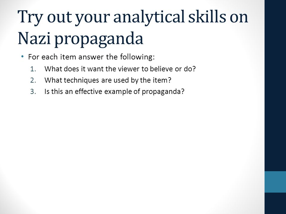 Try out your analytical skills on Nazi propaganda