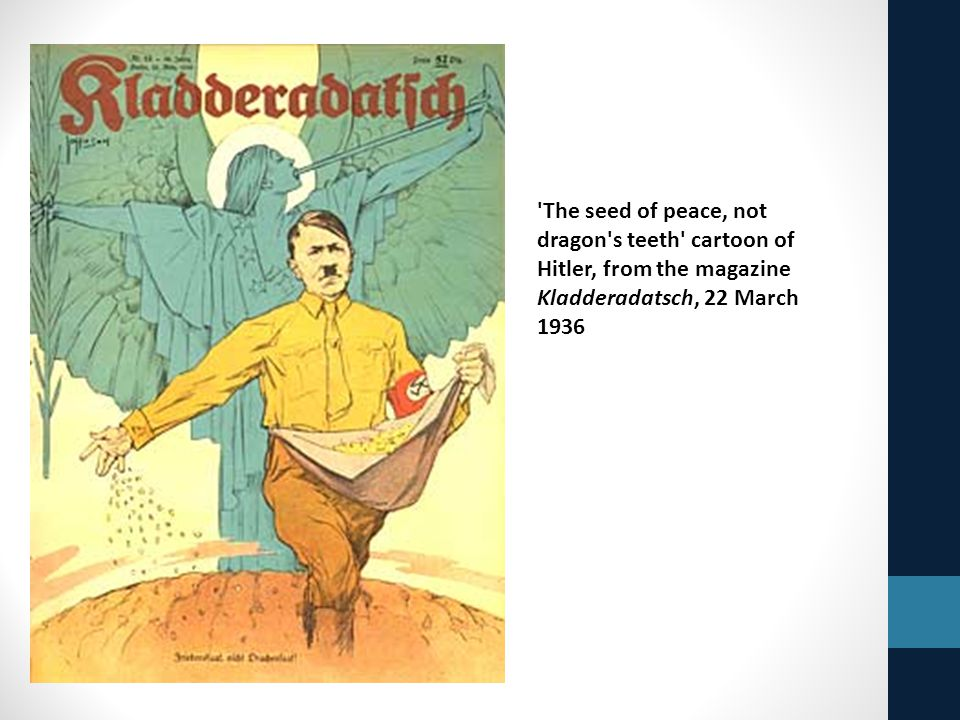 The seed of peace, not dragon s teeth cartoon of Hitler, from the magazine Kladderadatsch, 22 March 1936