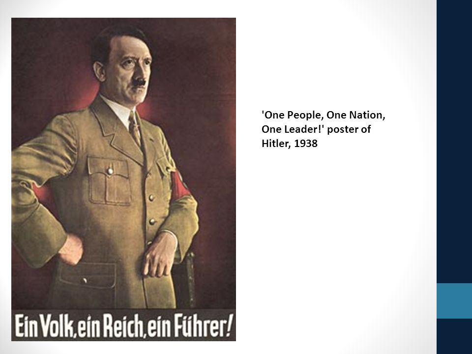 One People, One Nation, One Leader! poster of Hitler, 1938