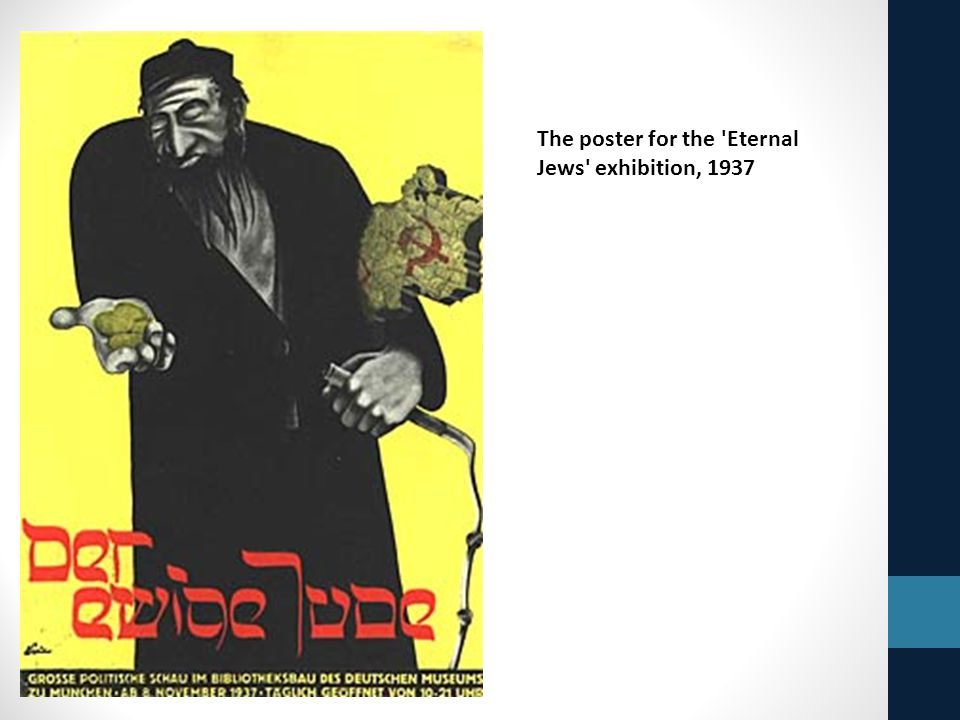 The poster for the Eternal Jews exhibition, 1937