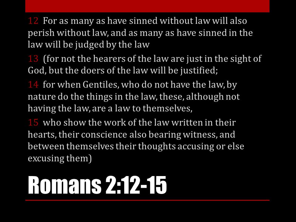 12 For as many as have sinned without law will also perish without law, and as many as have sinned in the law will be judged by the law 13 (for not the hearers of the law are just in the sight of God, but the doers of the law will be justified; 14 for when Gentiles, who do not have the law, by nature do the things in the law, these, although not having the law, are a law to themselves, 15 who show the work of the law written in their hearts, their conscience also bearing witness, and between themselves their thoughts accusing or else excusing them)