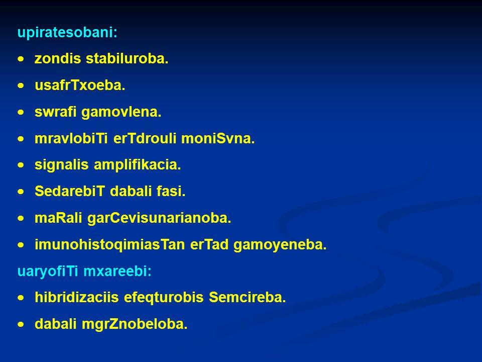 upiratesobani: · zondis stabiluroba. · usafrTxoeba. · swrafi gamovlena. · mravlobiTi erTdrouli moniSvna.
