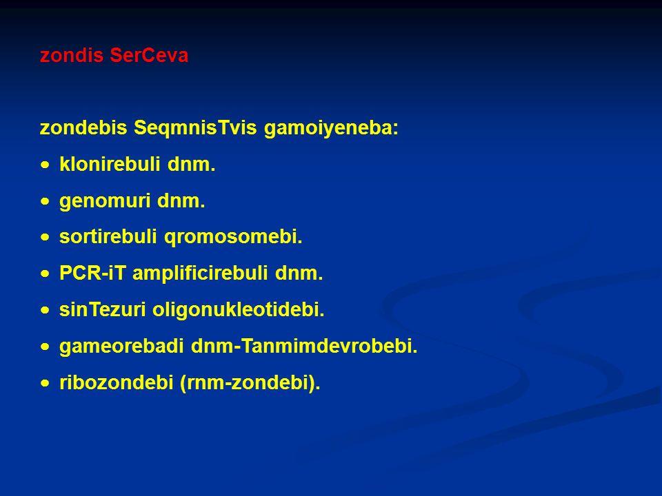 zondis SerCeva zondebis SeqmnisTvis gamoiyeneba: · klonirebuli dnm. · genomuri dnm. · sortirebuli qromosomebi.
