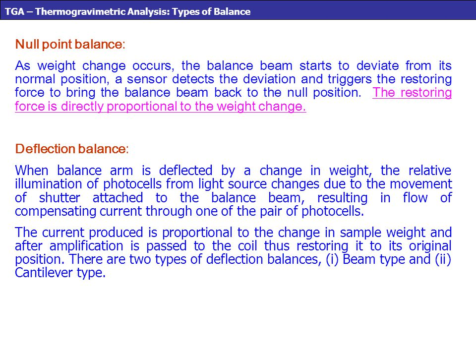 TGA – Thermogravimetric Analysis: Types of Balance