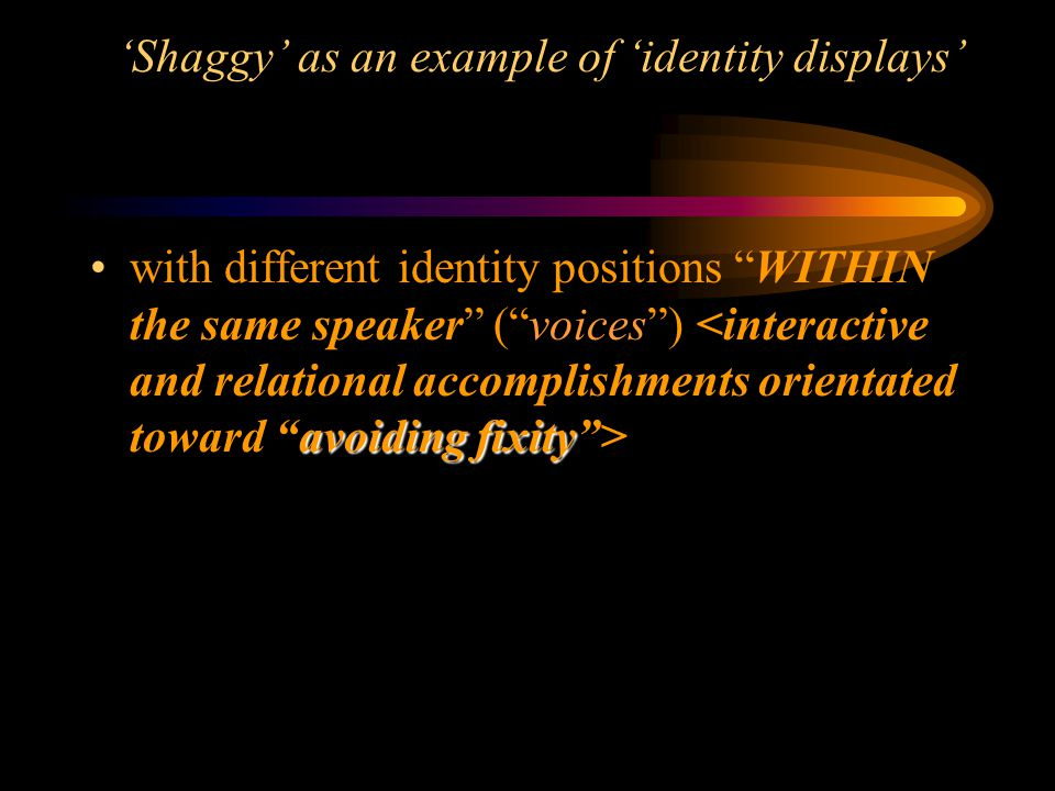 'Shaggy' as an example of 'identity displays'