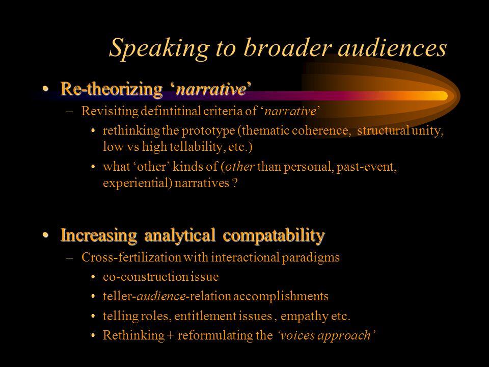 Speaking to broader audiences